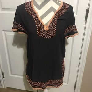 Love Stitch top with embroidered hem